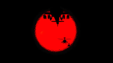 Apache Helicopter Silhouettes and Sun, Live Action