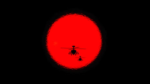 Apache Helicopter Silhouettes and Sun Live Action