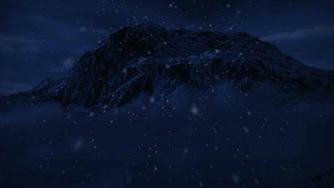1045 Night Snow Mountain Wilderness Winter Storm Stock Video Footage