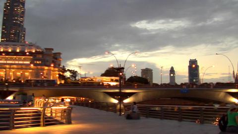 Singapore Skyline Pan To Merlion Stock Video Footage