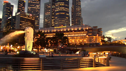 Singapore Skyline Pan To Merlion Stock Video Footage