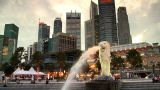 Singapore Merlion Evening Skyline stock footage