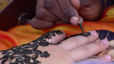 Henna Hand Painting Close Up Footage
