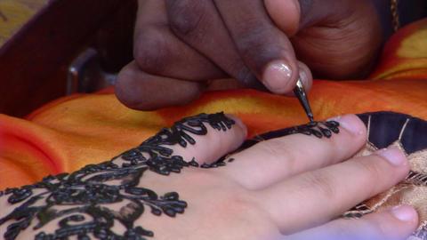 Henna Hand Painting Close Up Footage