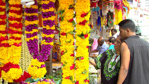 Indian Mother And Son Buying Flowers Stock Video Footage