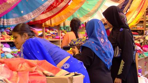 India Women Buying Sarees (Saris) Stock Video Footage