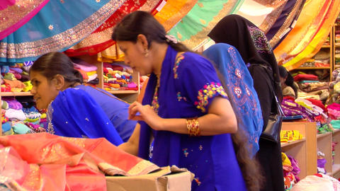 India Women Buying Sarees (Saris) Stock Video Footage