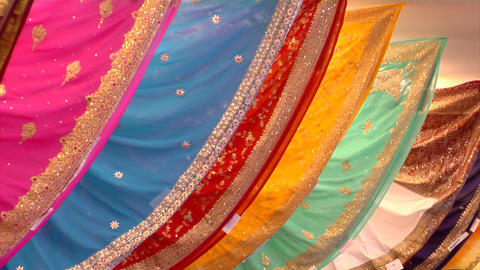 Indian Sarees (Saris) Close Up Stock Video Footage