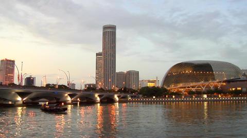 Singapore Marina Bay Skyline Stock Video Footage