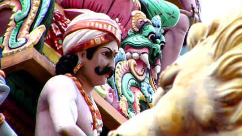 Sri Mariamman Temple CU Focus Stock Video Footage