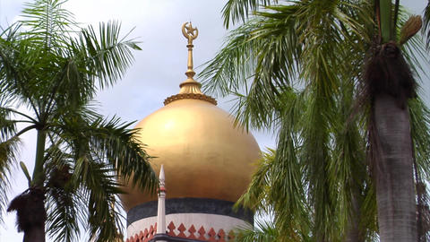 Singapore Sultan Mosque Golden Dome Stock Video Footage