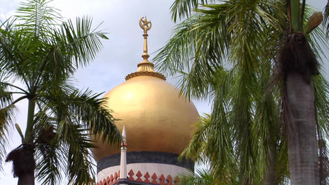 Singapore Sultan Mosque Golden Dome Footage
