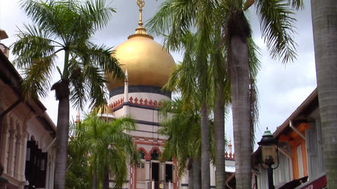 Singapore Masjid Sultan With Shophouses Footage