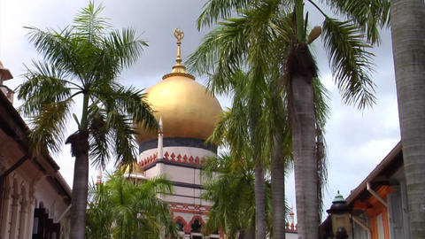 Singapore Masjid Sultan With Shophouses Stock Video Footage