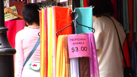 Shawls At Singapore Kampong Glam Stock Video Footage
