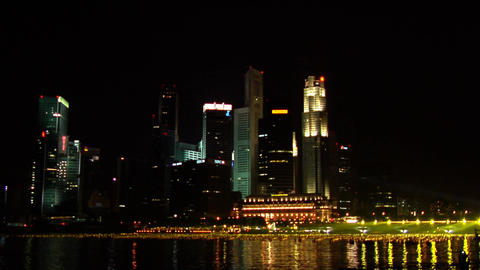 Singapore Skyline During New Year Countdown Stock Video Footage