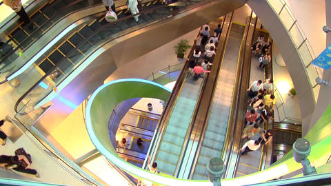 Singapore Shopping Centre Escalators Stock Video Footage