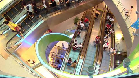 Singapore Shopping Centre Escalators Stock Video Footage