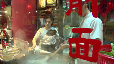 Chinese Knife Cut Noodle Stall Footage