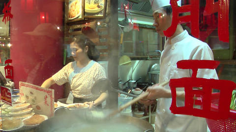 Chinese Knife Cut Noodle Stall Stock Video Footage