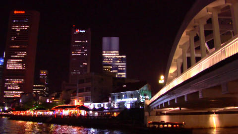 Singapore River, Boat Quay Skyline Footage
