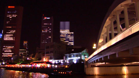 Singapore River, Boat Quay Skyline Stock Video Footage