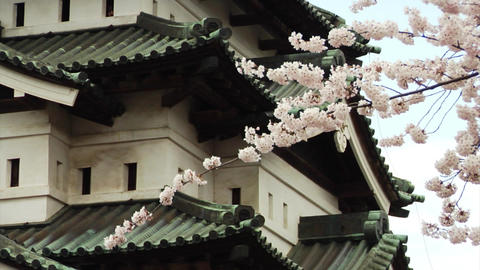 Hirosaki Castle Close Up In Spring Stock Video Footage