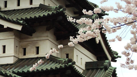 Hirosaki Castle Close Up In Spring Footage