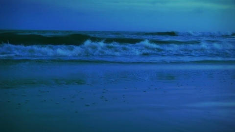 1005 Blue Evening Beach Surf Waves Stock Video Footage