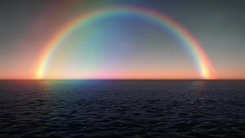 (1028) Rainbow Ocean Sunset stock footage