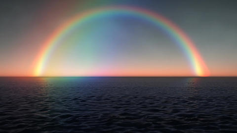 (1028) Rainbow Ocean Sunset Stock Video Footage
