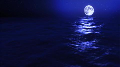 (1031) Full Blue Moon Rising over Blue Night Ocean Animation
