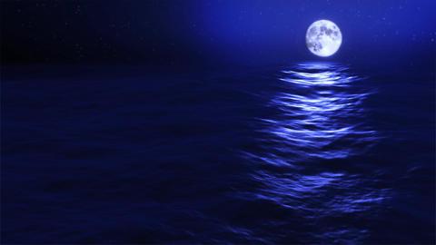 (1031) Full Blue Moon Rising over Blue Night Ocean Stock Video Footage