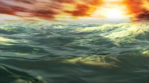 1078 Tropical Ocean Waves Sunset Animation