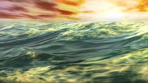 1078 Tropical Ocean Waves Sunset Stock Video Footage