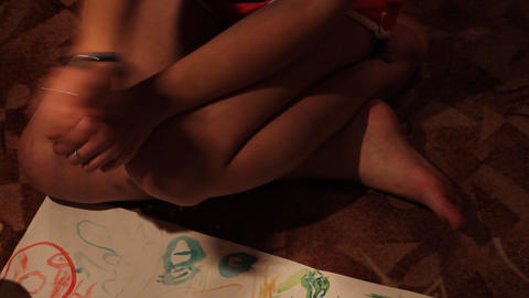 girl draws paints Footage