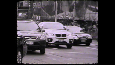 NYC Times square cars Stock Video Footage