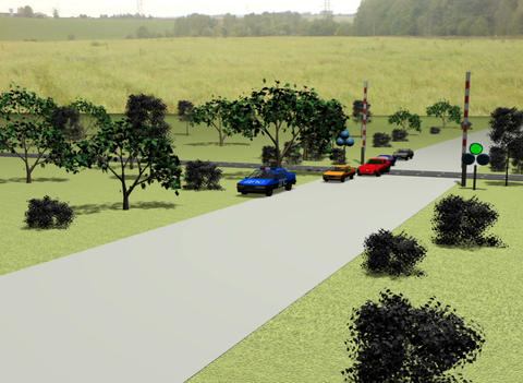 Cars on the railway crossing Stock Video Footage