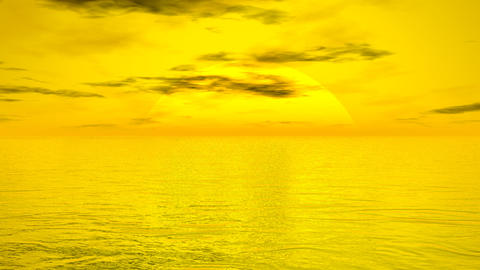 Sunset over ocean - 3D render Animation