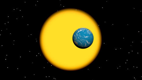 Earth rotation around sun - 3D render Stock Video Footage