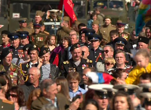 Parade on victory Day Stock Video Footage