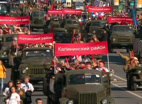 The military machine in the festive parade Stock Video Footage