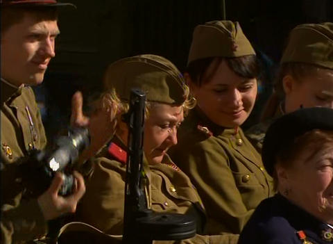 Women in uniform in the festive parade Stock Video Footage