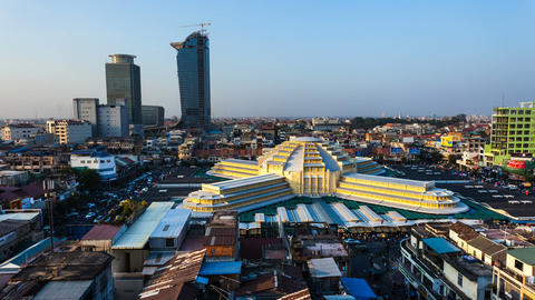 Timelapse of Phnom Penh Central Market 1080 Stock Video Footage