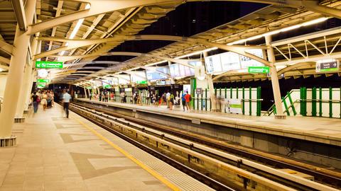 Timelapse - Bangkok Aerial Metro (BTS) at Night Stock Video Footage