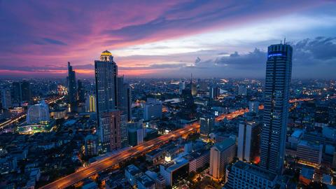 Bangkok timelapse at sunset Stock Video Footage