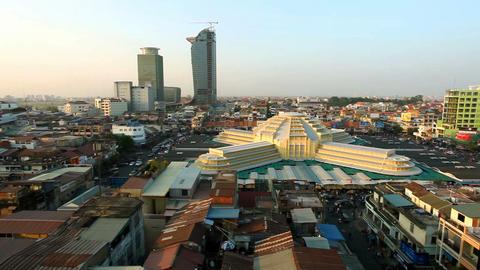 Phnom Penh Central Market - Panning Stock Video Footage