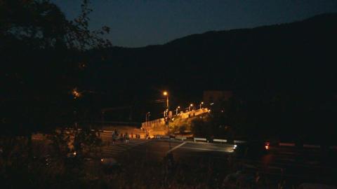 Divnogorsk Night Footbridge Stock Video Footage