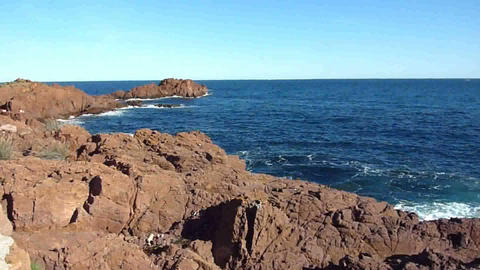 Waves and Esterel massif, France Stock Video Footage