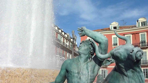 Fountain at Massena place, Nice Footage